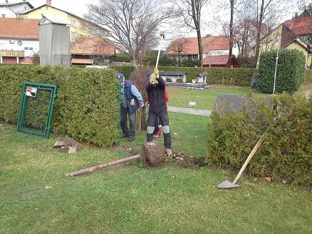 Priprava terena za vgradnjo novih vrat v Rimski nekropoli