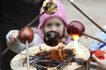 Peka jabolk na gozdarskih pečeh