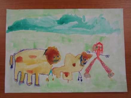 punčka pase krave
