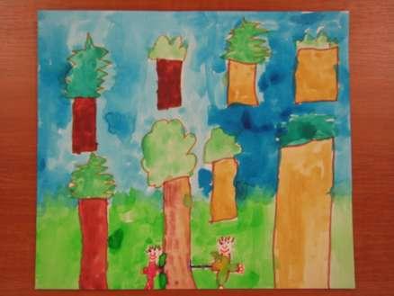 gozd in kmeta%2C ki sekate drevje